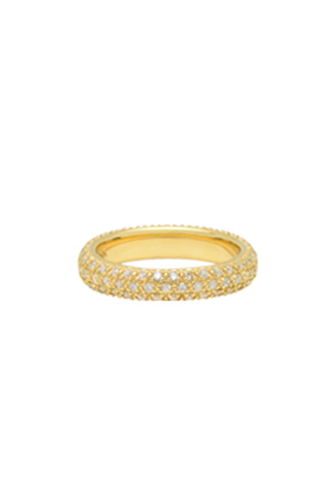 14K Yellow Gold Pavé Diamond Ring