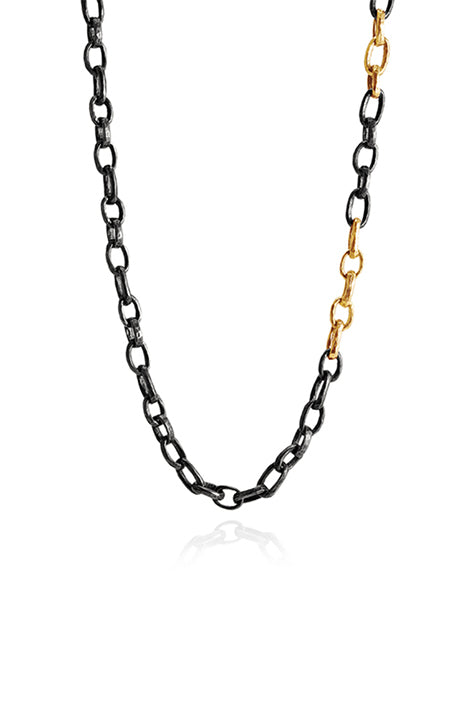 "40"" Oxidized Silver Hammered Chain Necklace With 14K Polished Yellow Gold Links"