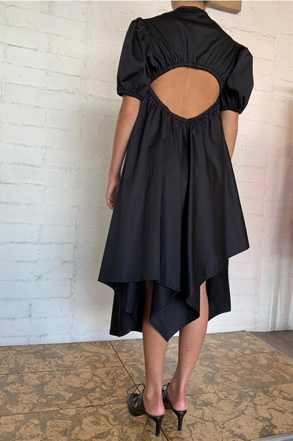 Black Puff Sleeve Cutout Dress