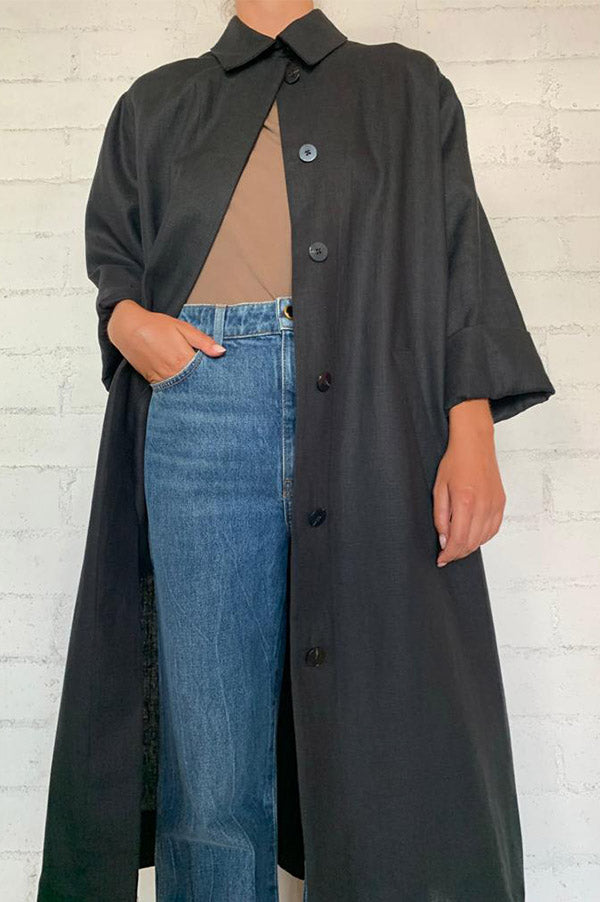 Black Slit Back Duster