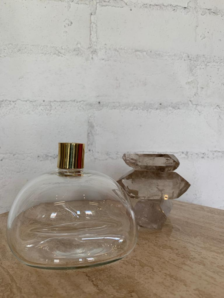 Clear Glass + Bronze Candlestick Holder