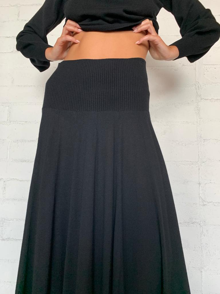 Cashmere Skirt with Panels