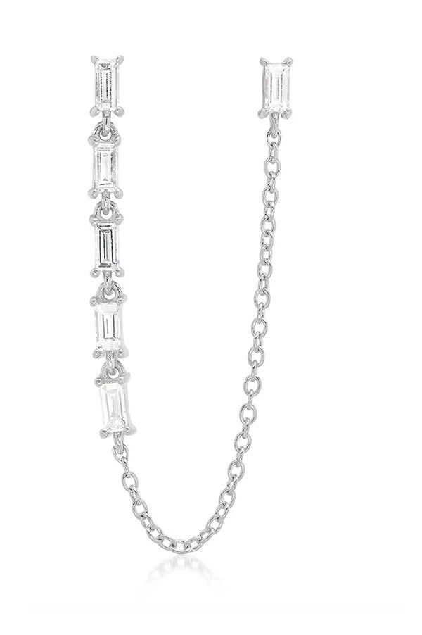 Diamond Baguette Link and Chain Stud