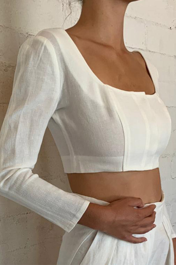 JAZIRAT Linen Crop Top