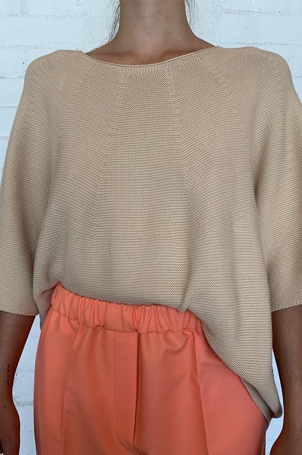 KODA Beige Short Sleeve Knit Top