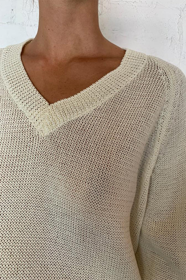 KOHEN Ecru Open Weave V-Neck Sweater