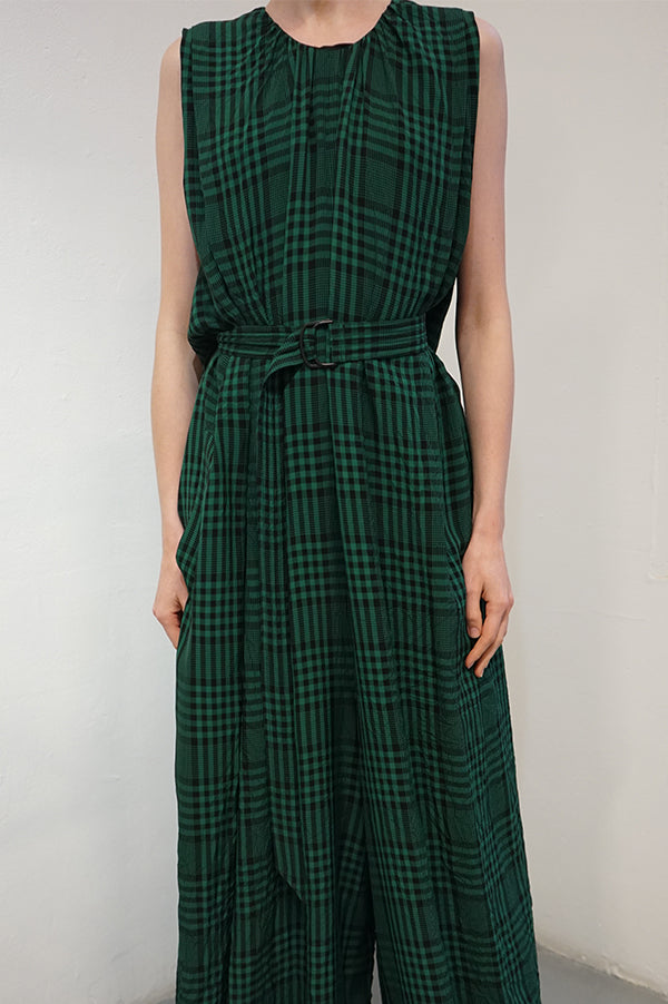 OMAN OVERALL Green Checks Jumpsuit