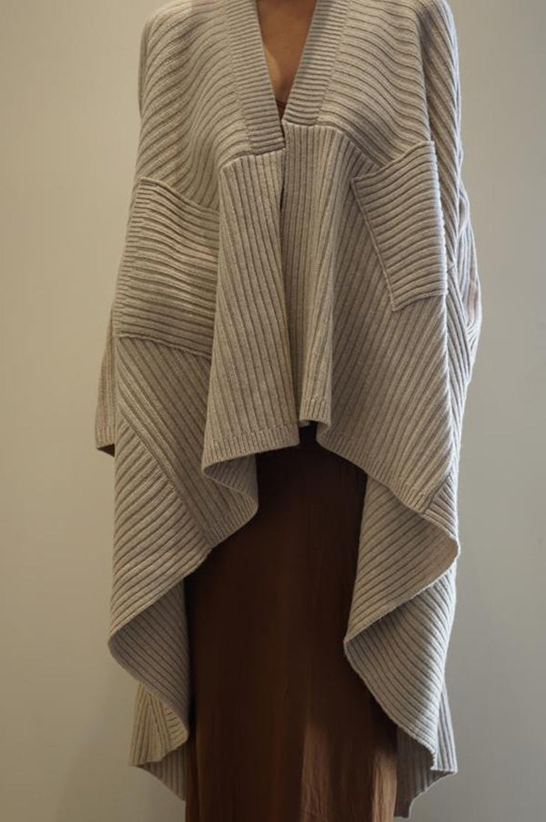 Ribbed Shawl Coat