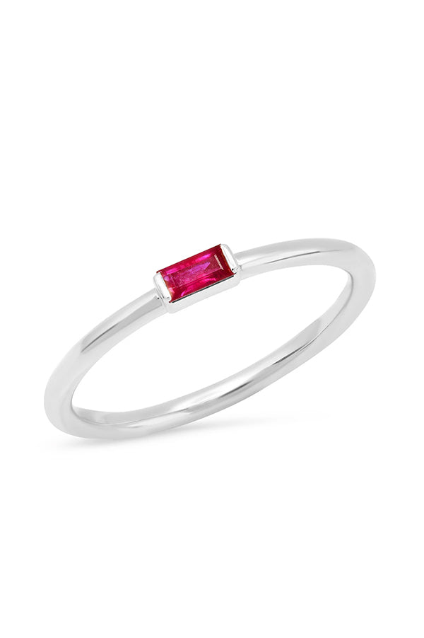 Ruby Baguette Solitaire Ring
