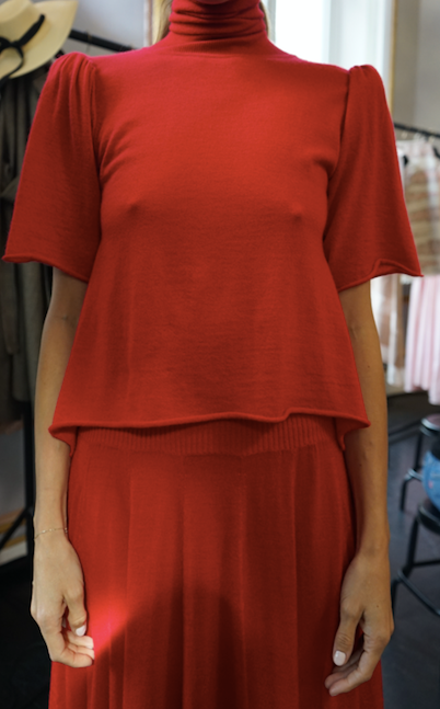 Red Cashmere T-Neck Sweater with Short Puff Sleeve