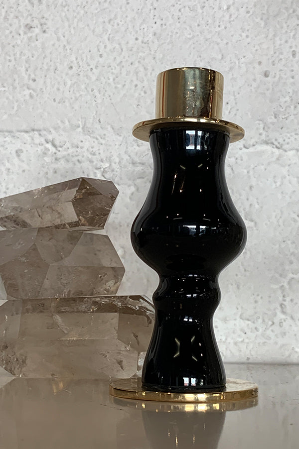 Short Black Glass + Bronze Candlestick Holder