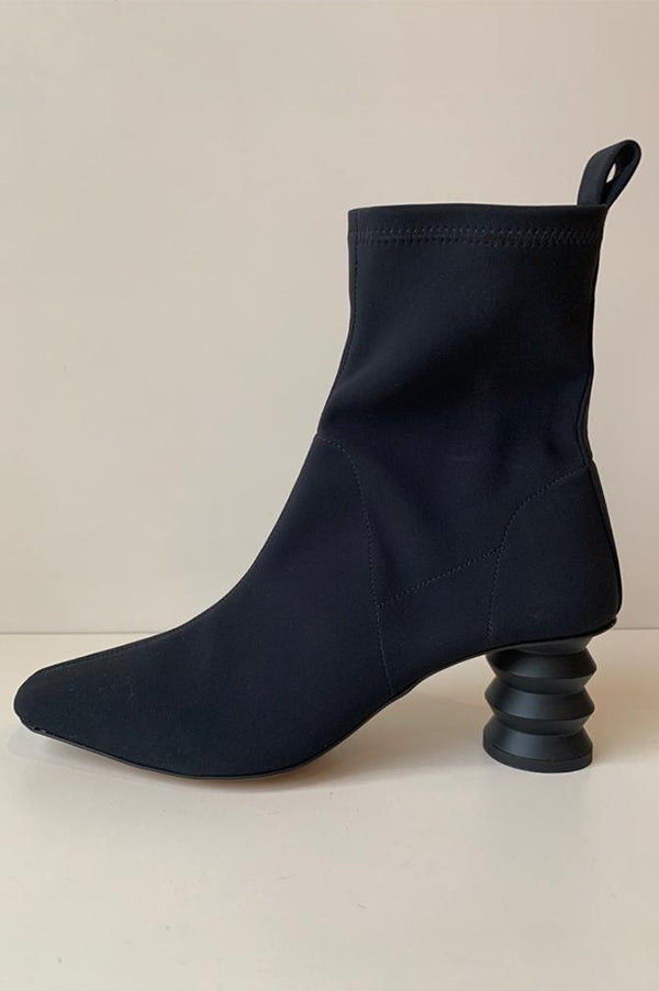 The Binx Stretch Boot with Zig Zag Heel in Black
