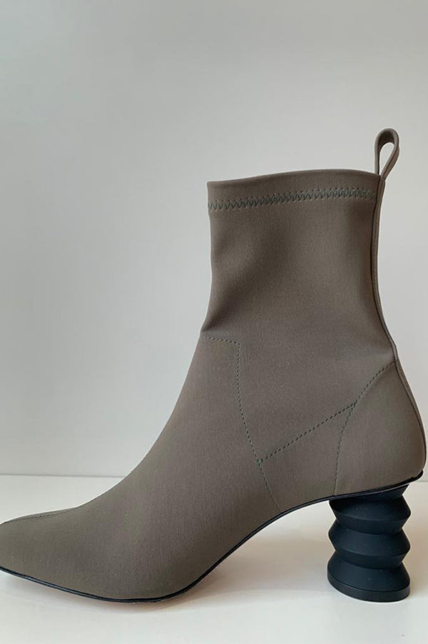 The Binx Stretch Boot with Zig Zag Heel in Khaki