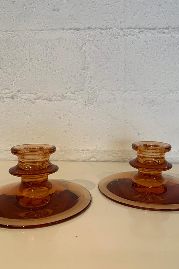Vintage Amber Glass Candleholders