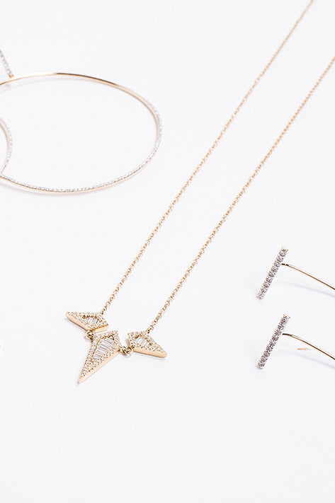 Baguette Dagger Trio Necklace