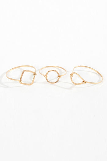14K Gold Multi Shaped Small Frame Rings