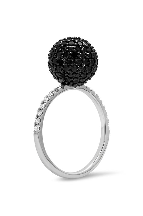 Black & White Diamond Disco Ball Ring