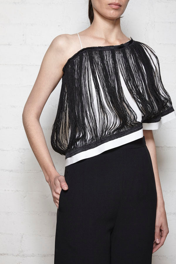 Black and White Silk Fringe Top