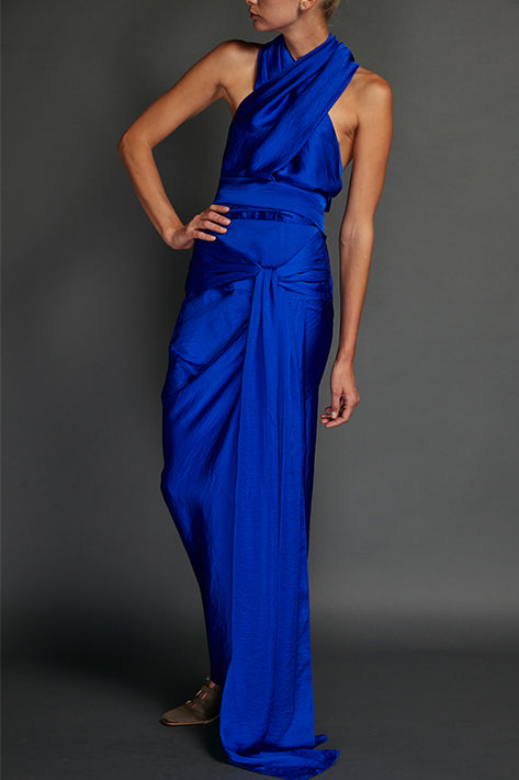Blue Washed Satin Draped Halter Dress