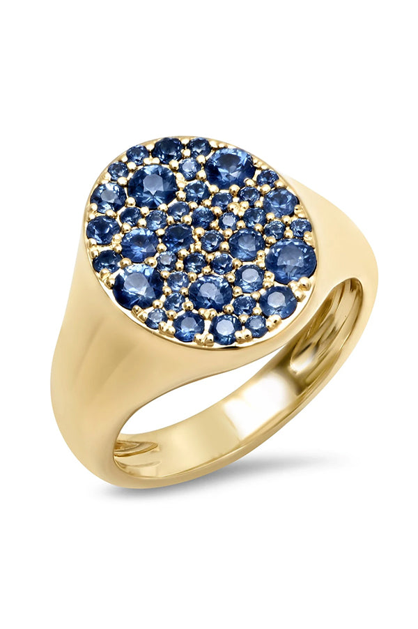 BLUE SAPPHIRE SIGNET PINKY RING