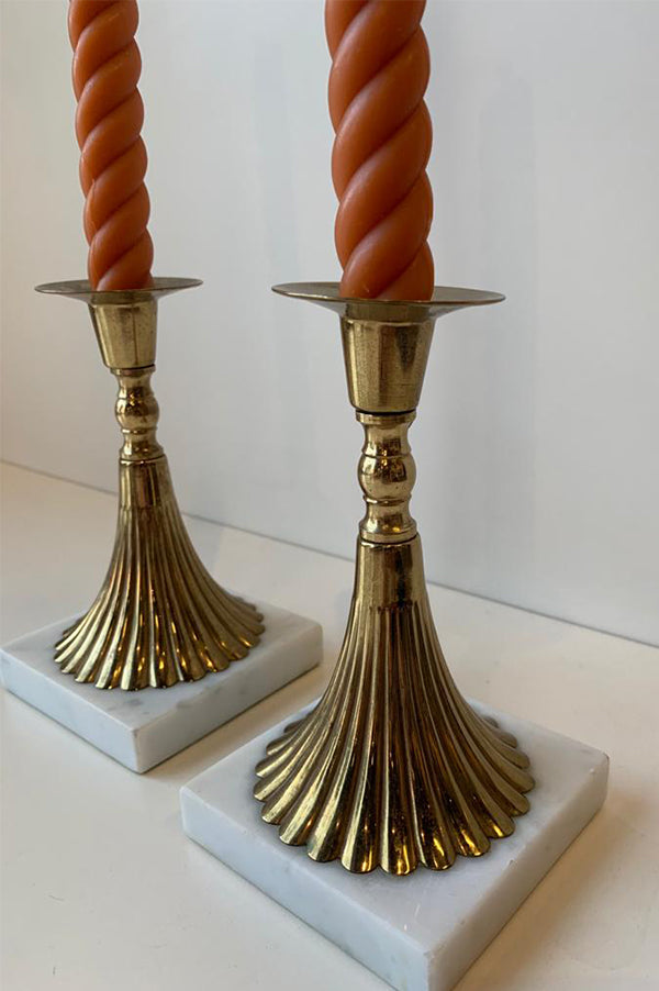 Mid Century Brass Torchiere Candleholders