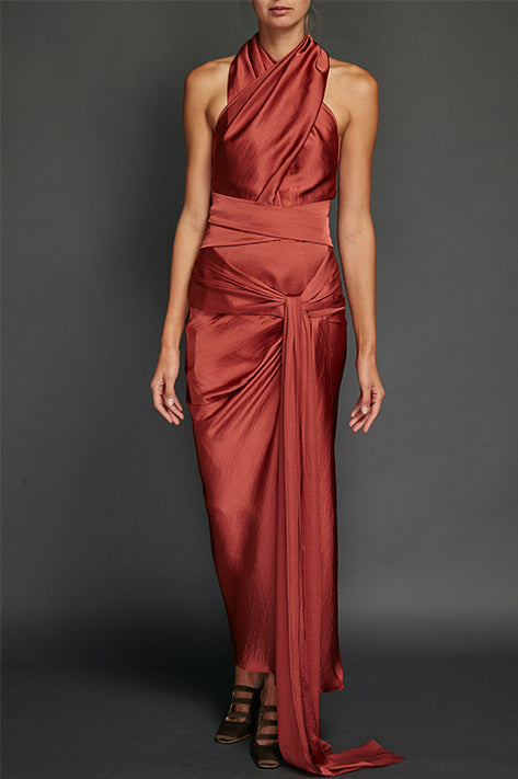 Brick Washed Satin Draped Halter Dress