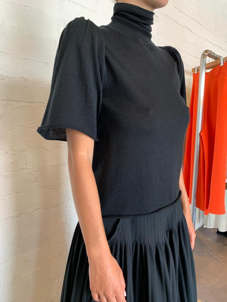 Black Cashmere T-Neck Sweater with Short Puff Sleeve