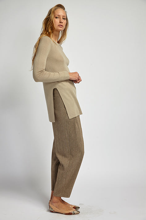 Cashmere Ribbed Long Sleeve Knit w Slits