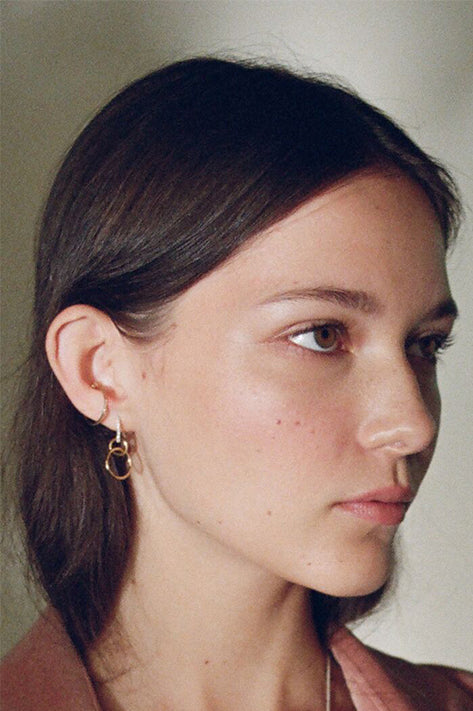 Chain Earrings with White Pavé