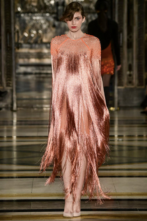 Copper Metallic Floor Length Dress