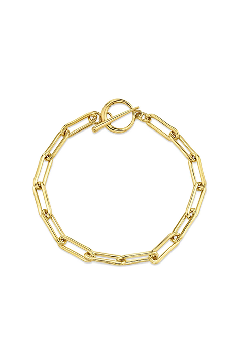 Delicate Rectangular Link Chain Bracelet with Tusk Clasp