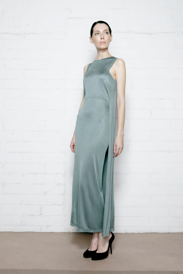 Sage Silk Jersey Column Dress