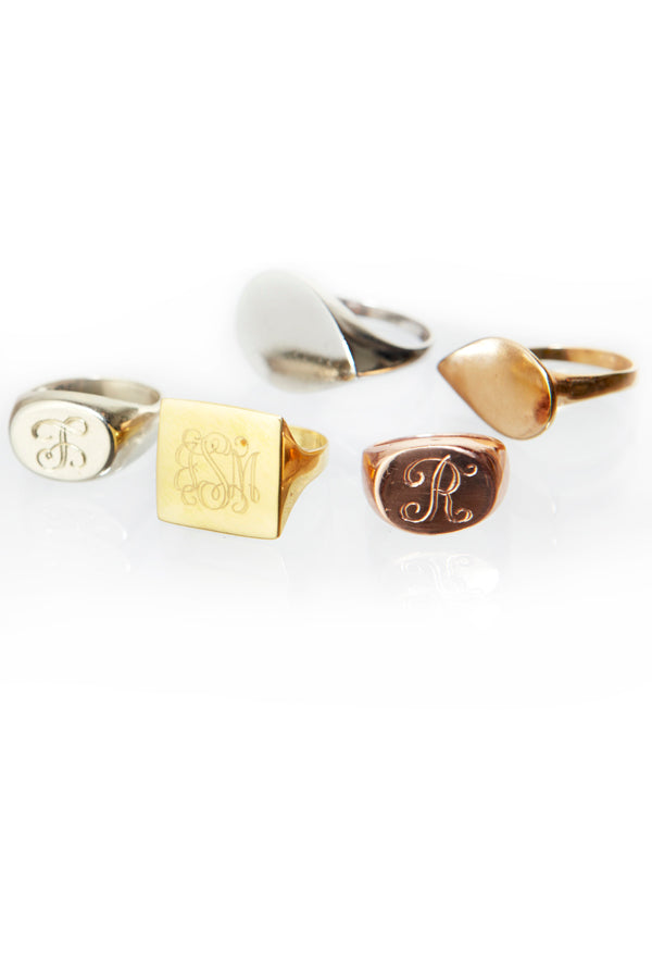 Monogram Teardrop Signet Ring