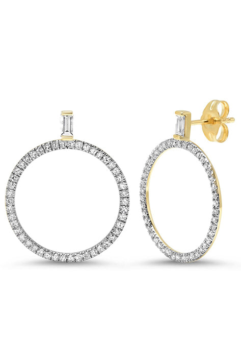 Diamond Baguette Loop Earrings