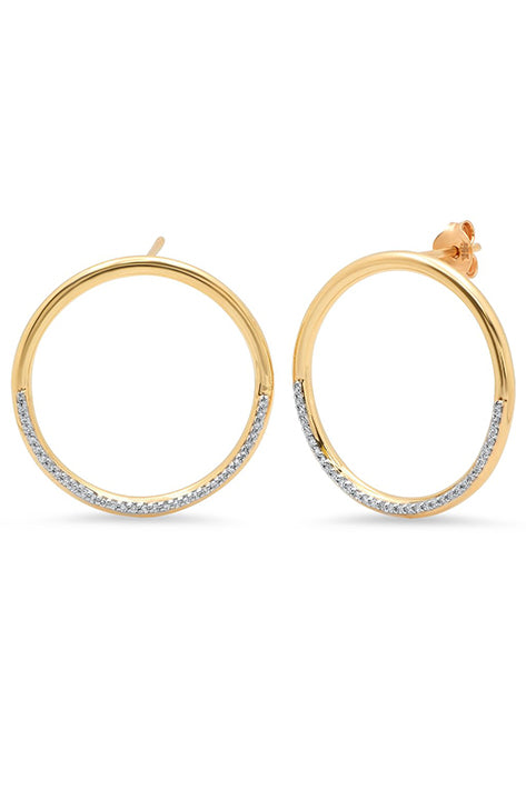 Gold Half Diamond Loop Earrings