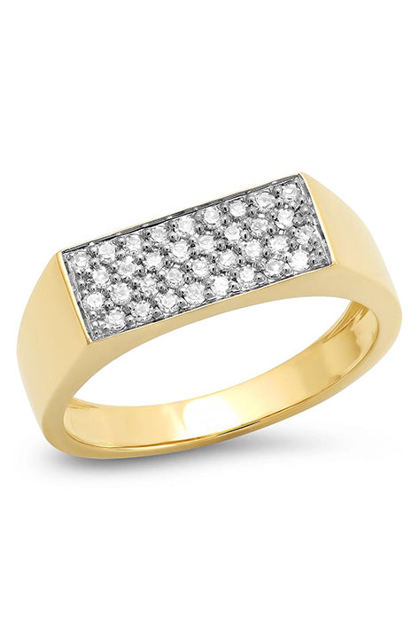 Diamond Staple Signet Ring