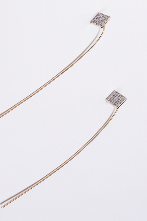 Pave Diamond Square Stud with Wire Thread