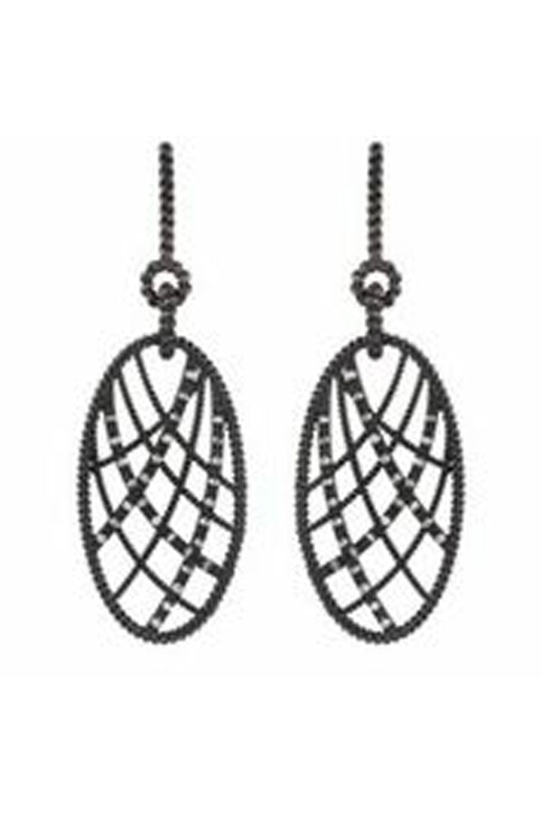 Diamond Oval Web Earrings