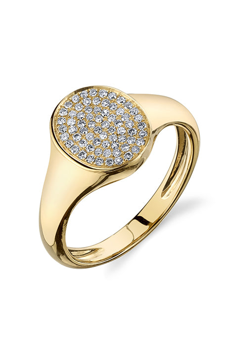 Disc Signet Ring with White Pave