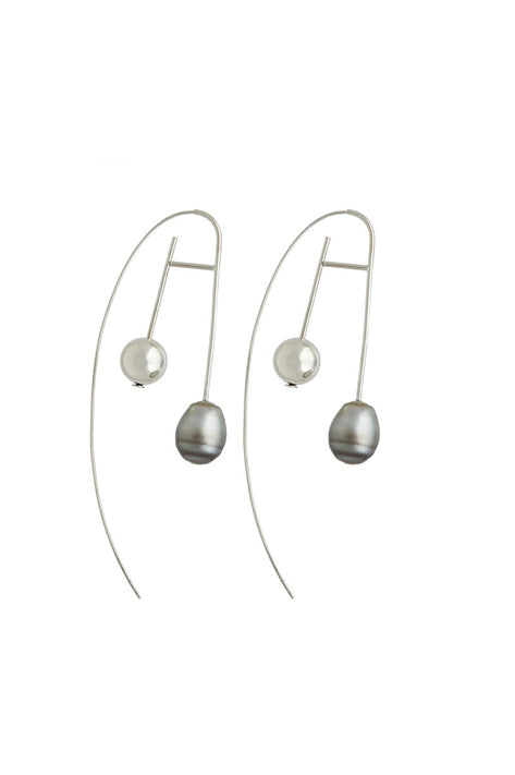 Disco Frost Sterling Silver Earrings Grey Pearl