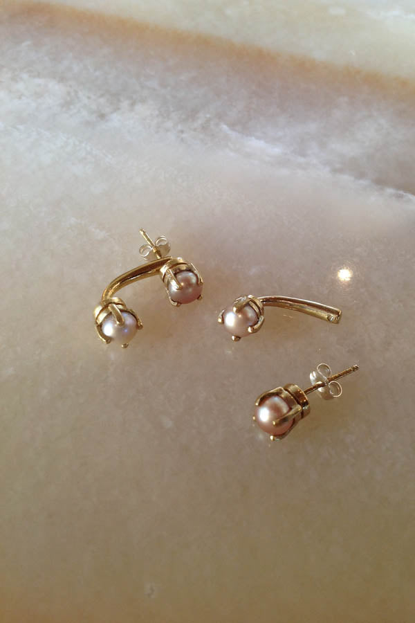 Large Double Muse Pearl Studs