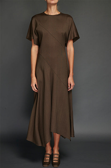 Draped Dress with Sleeves