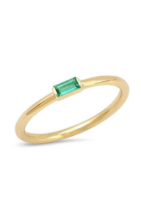 Emerald Baguette Solitaire Ring