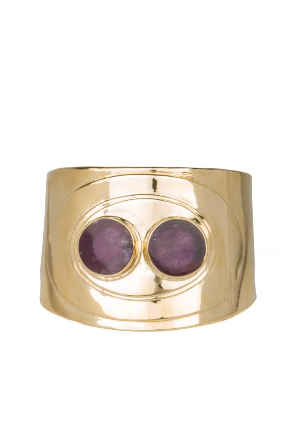 Bronze Cuff Set with Amethyst
