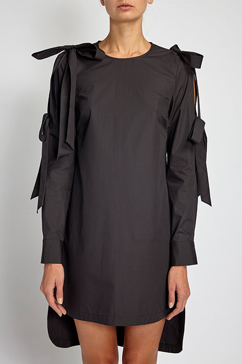 Eva Double Bow Shirt Dress / Tunic In Black