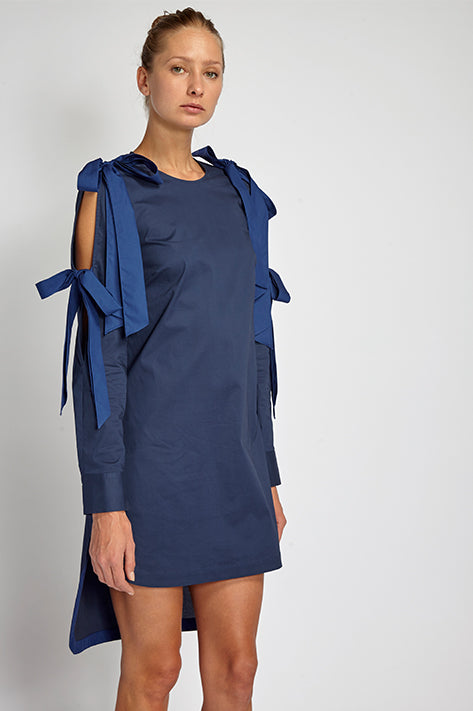 Eva Double Bow Shirt Dress / Tunic in Royal Blue