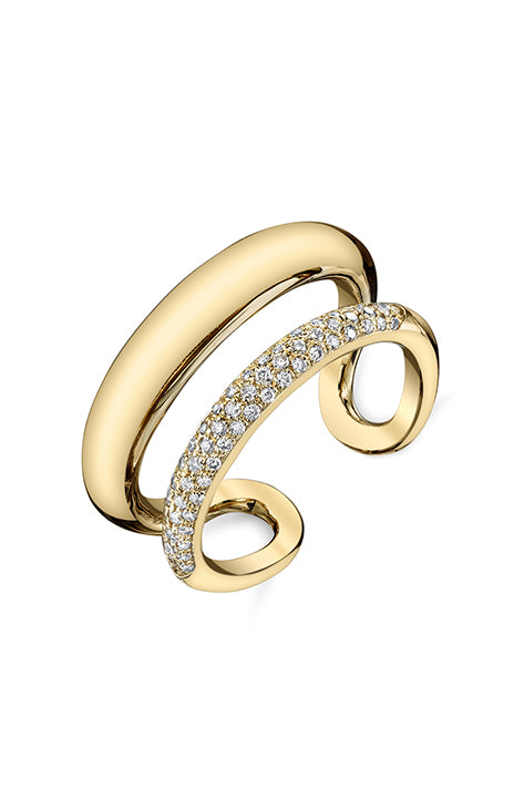 Twin Tusk Ring with Pave Diamonds