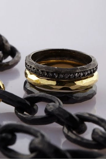 18K Gold Hand-Hammered Rings