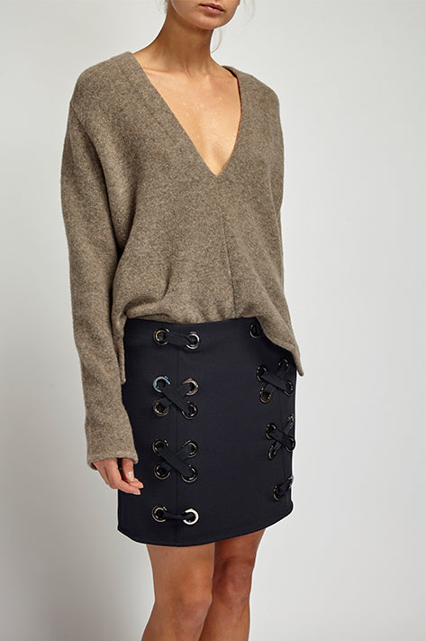 Leni Mini Skirt with Grommets