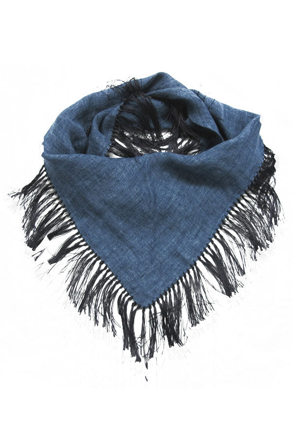 Linen Denim Scarf with Fringe
